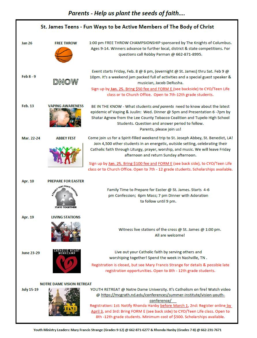 Schedule | Saint James